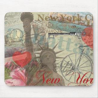 Collage de New York City del vintage Tapete De Ratón