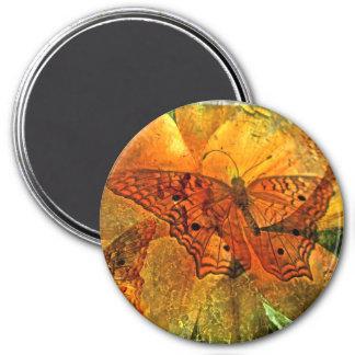Collage de oro de la mariposa - imán - modificado