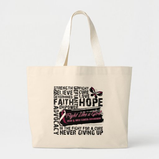 Collage de palabras - cáncer de cabeza y cuello bolsa lienzo