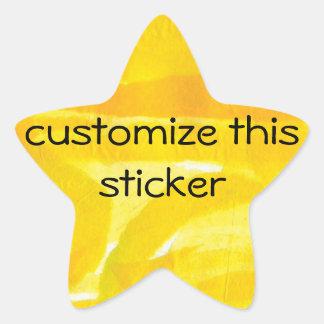 Collage de papel rasgado amarillo soleado brillant pegatina forma de estrella