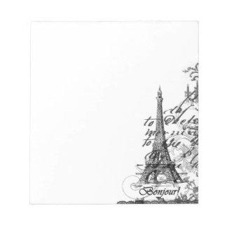 Collage de París Bonjour Bloc De Papel