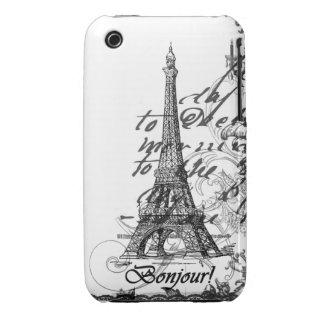 Collage de París Bonjour iPhone 3 Case-Mate Cárcasa