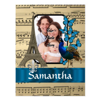Collage de París en la hoja de música Postal