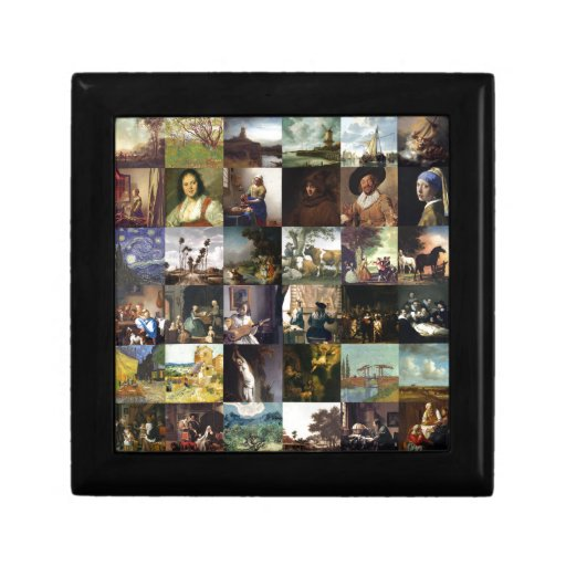 Collage de pinturas de Van Gogh, de Vermeer, del e Caja De Recuerdo