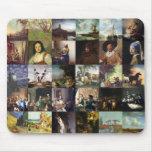 Collage de pinturas de Van Gogh, de Vermeer, del e Mousepads