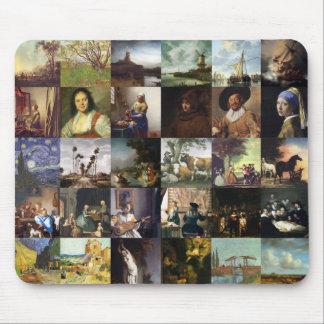 Collage de pinturas de Van Gogh, de Vermeer, del e Tapete De Ratón