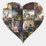 Collage de pinturas de Van Gogh, de Vermeer, del Pegatina En Forma De Corazón