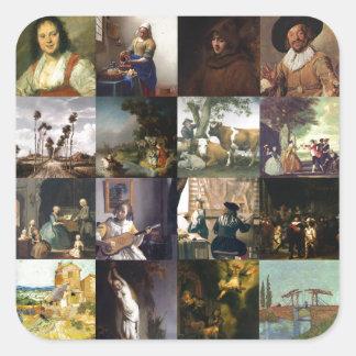 Collage de pinturas de Van Gogh, de Vermeer, del Pegatina Cuadradas Personalizada