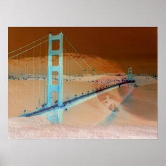 Collage de puente Golden Gate y de la persona que  Póster