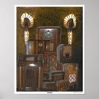 Collage de radio de madera viejo/de la antigüedad  póster