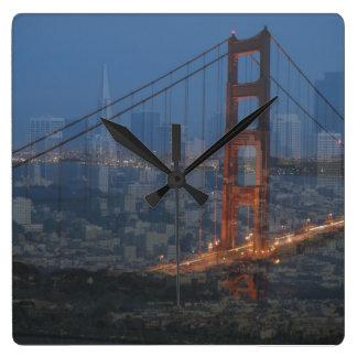 Collage de San Francisco Reloj Cuadrado