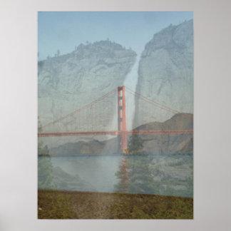 Collage de San Francisco y de Yosemite Póster