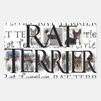 Collage de Terrier de rata Rectangular Pegatinas