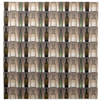 Collage de tres botellas servilleta de papel