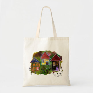 Collage de tres casas con las flores bolsa tela barata