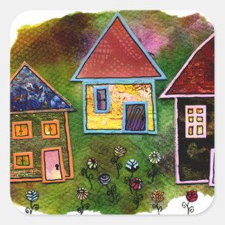 Collage de tres casas con las flores pegatina cuadrada