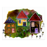 Collage de tres casas con las flores postal