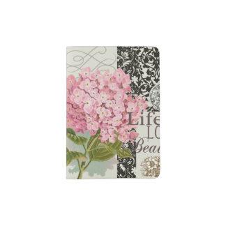 Collage decorativo floral del modelo del damasco porta pasaporte