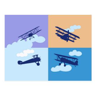 Collage del aeroplano en colores en colores pastel tarjetas postales