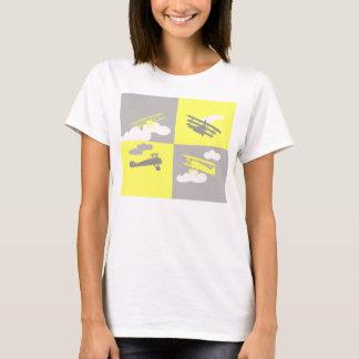 Collage del aeroplano en gris y amarillo playera