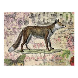 Collage del animal del vintage del Fox Postales