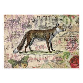 Collage del animal del vintage del Fox Tarjetas De Visita