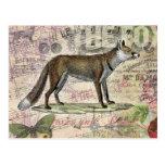 Collage del animal del vintage del Fox Tarjetas Postales