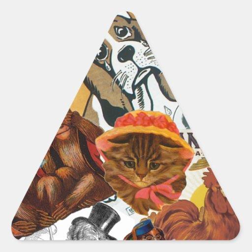 Collage del animal del vintage pegatina triangular