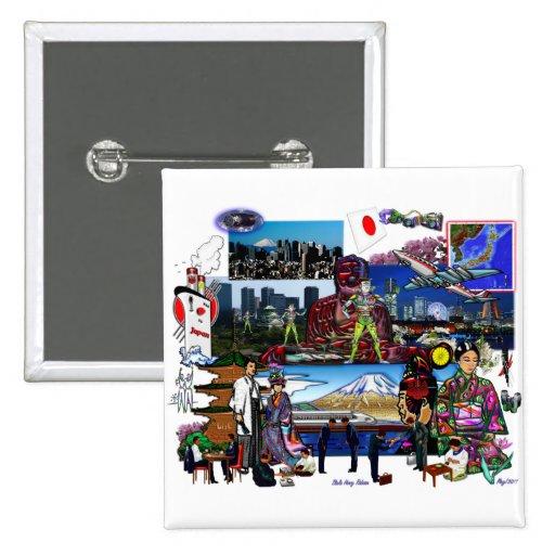 Collage del archipiélago japonés de Japón Pin Cuadrada 5 Cm