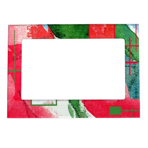 collage del arte abstracto, técnicas mixtas y acua marcos magnéticos para fotos