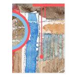 collage del arte abstracto, técnicas mixtas y acua tarjeta postal