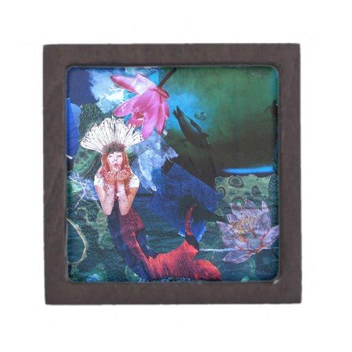 Collage del arte de la diosa de Mermaig con los pi Caja De Joyas De Calidad