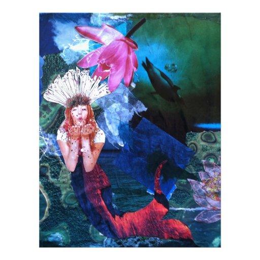Collage del arte de la diosa de Mermaig con los pi Plantilla De Membrete