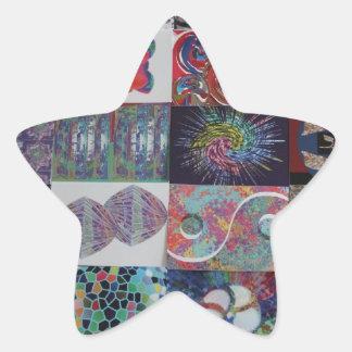 Collage del arte de los SALUDOS Pegatina En Forma De Estrella