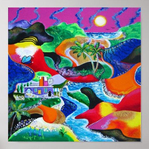 Collage del arte del Caribe tropical de Puerto Ric Póster