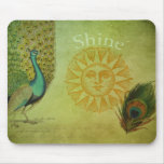 Collage del arte del pavo real del vintage tapete de raton