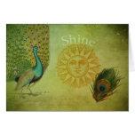 Collage del arte del pavo real del vintage felicitación