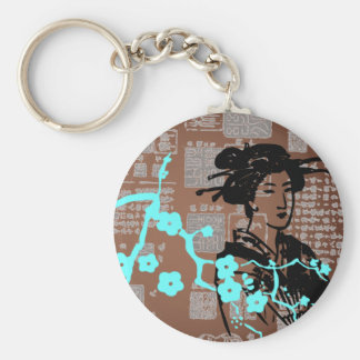 Collage del asiático del vintage llaveros personalizados