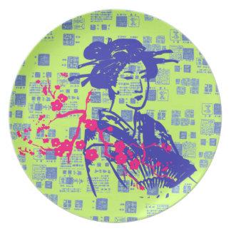 Collage del asiático del vintage plato