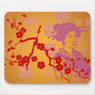Collage del asiático del vintage tapete de raton