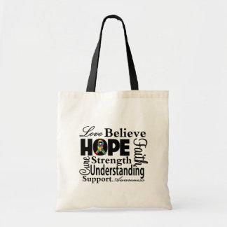 Collage del autismo de la esperanza bolsas de mano