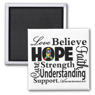 Collage del autismo de la esperanza imán cuadrado