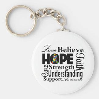 Collage del autismo de la esperanza llaveros