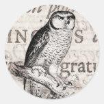 Collage del búho del vintage y del texto de la pegatina redonda