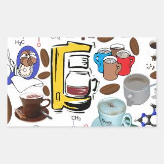 Collage del café pegatina rectangular