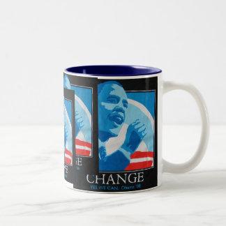 Collage del cambio de Obama Tazas De Café