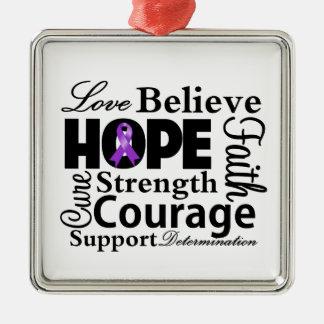 Collage del cáncer pancreático de la esperanza adorno navideño cuadrado de metal
