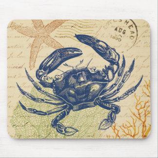 Collage del cangrejo azul tapete de ratón