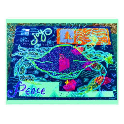 Collage del cangrejo de la paz postal