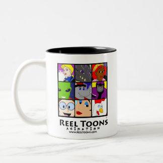 Collage del carácter de Toons del carrete Taza
